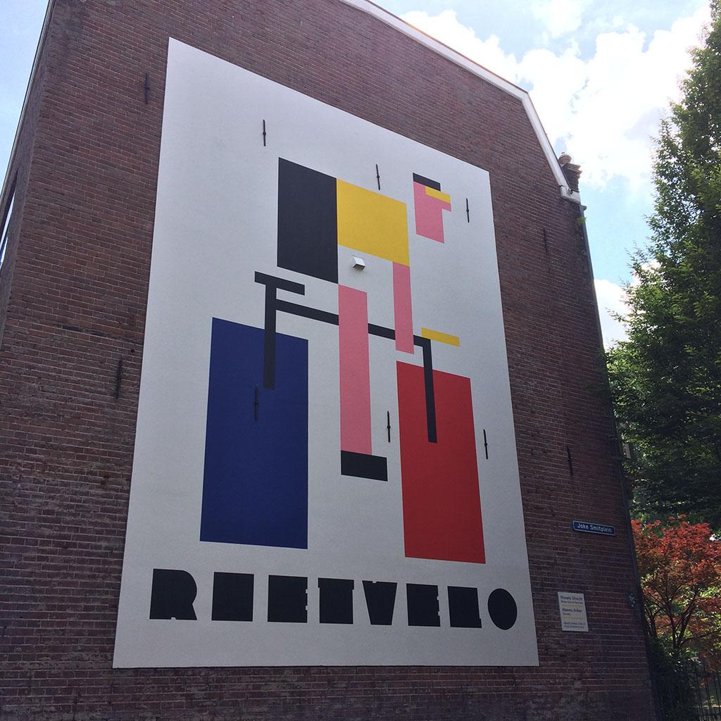Muurschildering Rietvelo